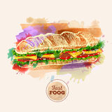 Watercolor Hamburger or Sandwich. Fast Food Stock Photography