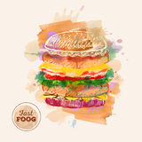 Watercolor Hamburger or Sandwich. Fast Food sketch Royalty Free Stock Photo