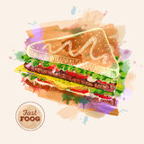 Watercolor Hamburger or Sandwich. Fast Food Royalty Free Stock Photos