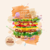 Watercolor Hamburger or Sandwich. Fast Food sketch Stock Image