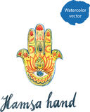 Watercolor of hamsa hand Stock Images
