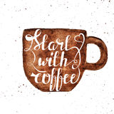 Watercolor hand draw coffee cup and hand lettering illustration. Watercolor hand draw poster with coffee cup and hand lettering illustration Stock Photos
