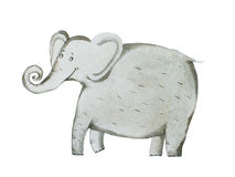 Watercolor hand draw of elephant Aquarelle illustration Royalty Free Stock Image
