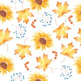 Watercolor hand draw painting seamless pattern with autumnal leaves and sunflowers Royalty Free Stock Images