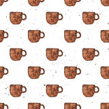 Watercolor hand draw vintage textured coffee cup seamless pattern Royalty Free Stock Images