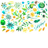 Watercolor hand drawing floral decor pattern Stock Photography