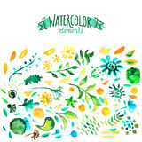 Watercolor hand drawing floral decor pattern Stock Images
