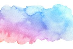 Free Watercolor Hand Drawn Abstract Artistic Blue Red Brush Stroke With Strains Isolated On White Background Royalty Free Stock Images - 134798799