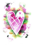 Watercolor hand drawn abstract heart. In pink and green colors. Valentine`s card. Wedding card vector illustration
