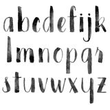 Watercolor hand drawn alphabet. Brush painted letters. Vector illustration Royalty Free Stock Image