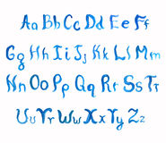 Watercolor hand-drawn alphabet. Isolated letters on white Royalty Free Stock Photography