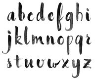 Watercolor hand drawn alphabet. Vector illustration. Brush painted letters Stock Photography