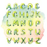 Watercolor hand drawn alphabet on watercolor multicolored spot. Background Stock Photo