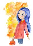 Watercolor hand drawn art with beautiful autumn girl with blue hair and yellow leaves surrounded her head. vector illustration