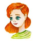 Watercolor hand drawn art with cartoon girl in green t-shirt with ginger hair and big green eyes on the white background. Lovely illustration about young girl royalty free stock photos