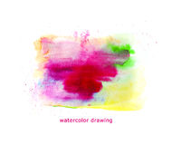 Watercolor hand drawn artistic backdrop, abstract color spots, paint drops. Royalty Free Stock Image