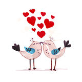 Watercolor hand drawn artistic Valentine day illustration. Vector Valentine day hand drawn artistic kissing birds isolated on white background. Watercolor Royalty Free Stock Image
