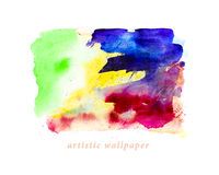 Watercolor hand drawn artistic wallpaper, abstract color spots, paint drops. Stock Photos