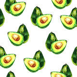 Watercolor hand drawn avocado seamless pattern. isolated on white stock illustration