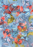 Watercolor hand drawn background with blue and red hand bells flowers on blue ba. Ckground Stock Photo