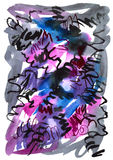 Watercolor hand drawn background in violet and black colors. Watercolor texture. For a card vector illustration