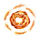 Watercolor hand drawn bagel - Illustration Royalty Free Stock Photos