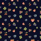 Watercolor hand drawn berry seamless pattern on navy bluenbackground. royalty free illustration