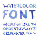 Watercolor Hand Drawn Blue Font Royalty Free Stock Image