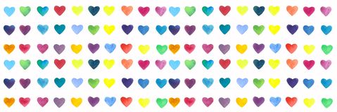 Watercolor hand drawn bright and colorful hearts elements vector illustration