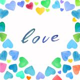Watercolor hand drawn bright and colorful hearts frame with calligraphy. Pink, blue, yellow, orange, violet colors used royalty free illustration