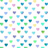 Watercolor hand drawn bright and colorful hearts seamless pattern. Hand painted watercolor hearts pattern for Valentine`s day. Romantic blue, pink heart for royalty free illustration