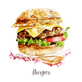 Watercolor hand drawn burger. Isolated illustration on white background. Watercolor hand drawn burger. Isolated illustration on white Royalty Free Stock Image