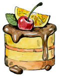 Watercolor hand drawn cake Stock Image