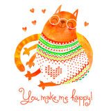 Watercolor hand drawn card with a cute cat. Vector illustration Stock Photo