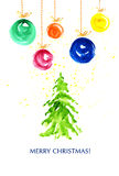 Watercolor hand drawn Christmas postcard template. Stock Image