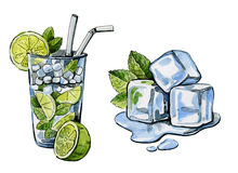 Watercolor hand drawn cocktail and ice Stock Image