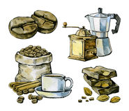 Watercolor hand drawn coffee Stock Images