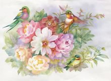 Watercolor hand drawn colorful beautiful flower and birds. Watercolor hand drawn colorful beautiful flower and birds Royalty Free Stock Photography