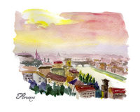 Watercolor hand drawn colorful illustration of Florence city view. Stock Image