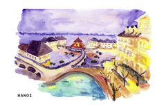 Watercolor hand drawn colorful illustration of Hanoi city view. Royalty Free Stock Images