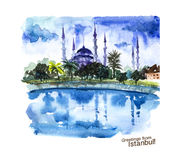 Watercolor hand drawn colorful illustration of Istanbul city view. Royalty Free Stock Photos