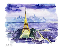 Watercolor hand drawn colorful illustration of Paris city view. Stock Photos