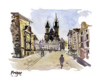 Watercolor hand drawn colorful illustration of Prague city view. Stock Image