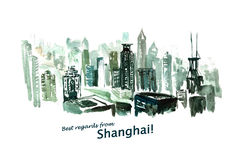 Watercolor hand drawn colorful illustration of Shanghai city view. Stock Photography