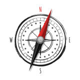 Watercolor hand drawn compass,  on white background. Royalty Free Stock Photos