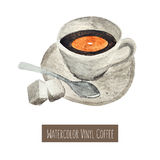 Watercolor hand drawn cup of coffee illustration Stock Photo