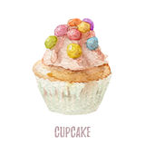 Watercolor hand drawn cupcake perfect for invitations, cards, dinners and menu templates. Royalty Free Stock Photography