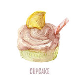 Watercolor hand drawn cupcake perfect for invitations, cards, dinners and menu templates. Stock Photography