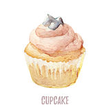 Watercolor hand drawn cupcake perfect for invitations, cards, dinners and menu templates. Royalty Free Stock Image