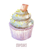Watercolor hand drawn cupcake perfect for invitations, cards, dinners and menu templates. Stock Photos